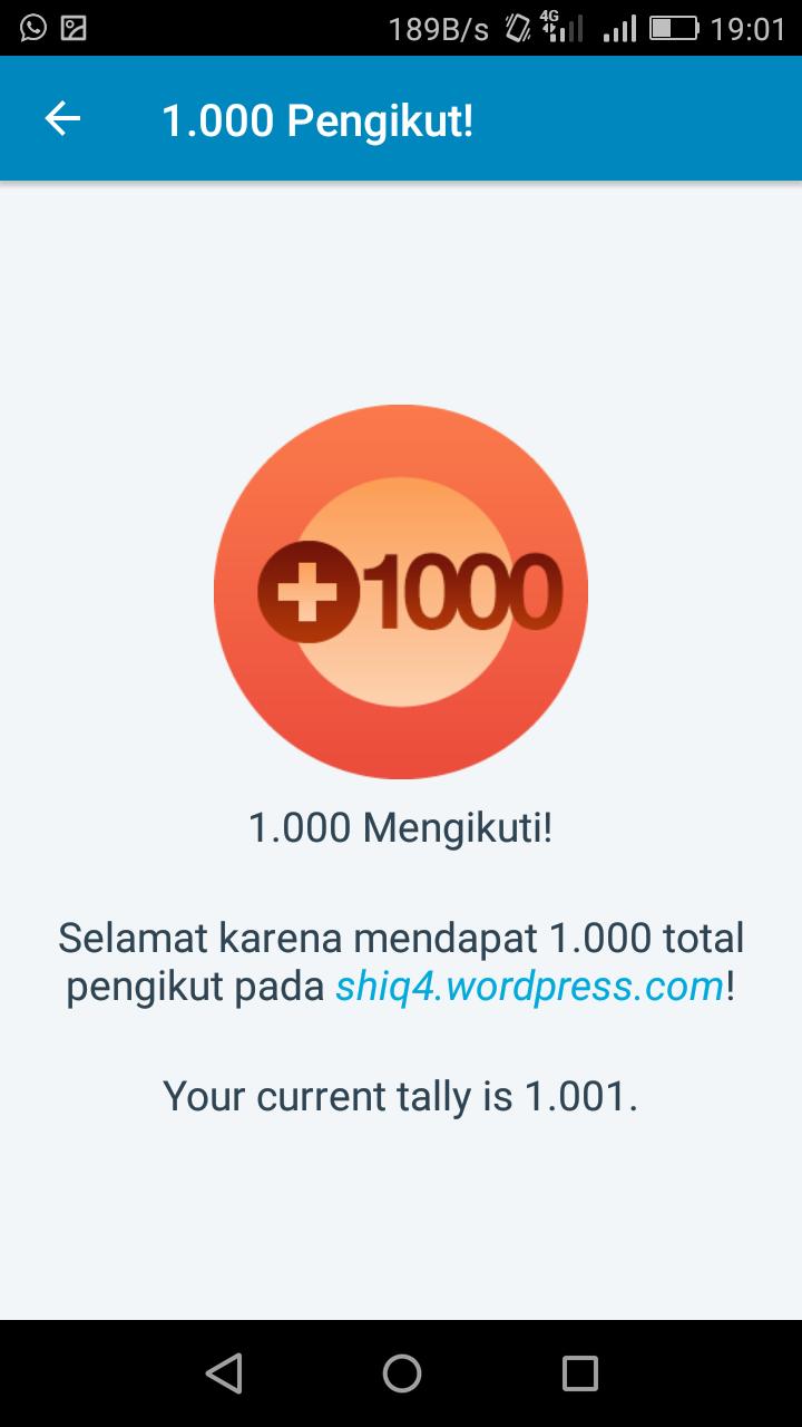 1000 pengikut blog